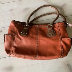 relic purse shoulder bag red brown leather
